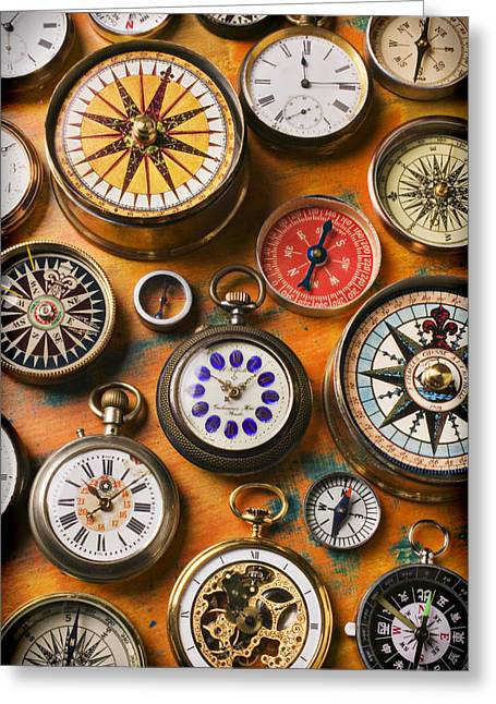Glass Greeting Cards - Watches and compasses  Greeting Card by Garry Gay