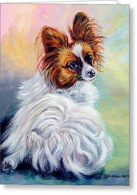 Papillon Dog Greeting Cards - Watchful - Papillon Dog Greeting Card by Lyn Cook