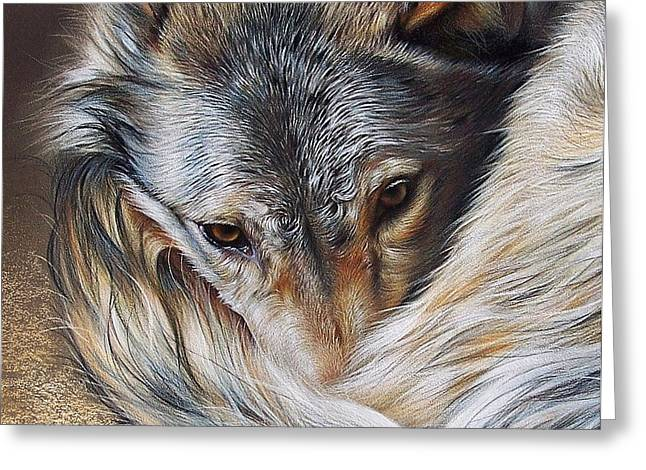 Watchful Rest -close-up detail Greeting Card by Elena Kolotusha