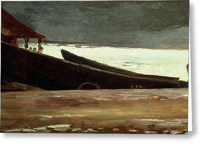 Docked Sailboats Greeting Cards - Watching a Storm on the English Coast Greeting Card by Winslow Homer