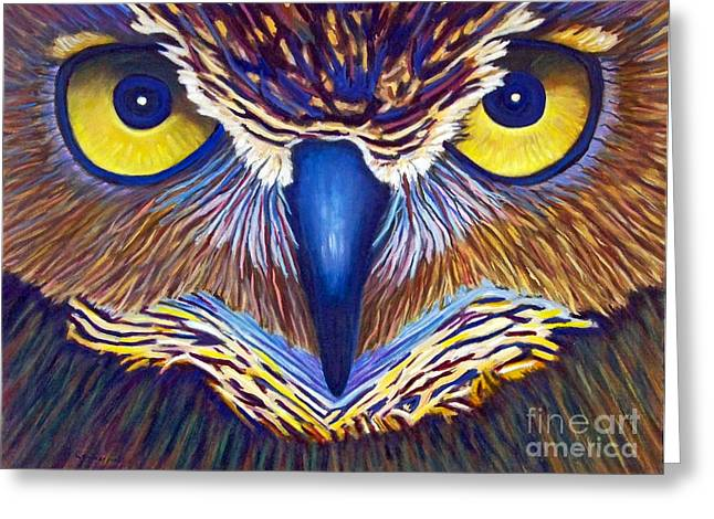 Owls Greeting Cards - Watching Greeting Card by Brian  Commerford