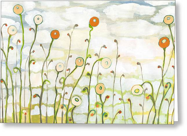 Clouds Paintings Greeting Cards - Watching the Clouds Go By No 2 Greeting Card by Jennifer Lommers