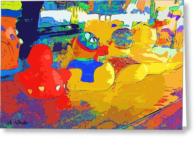 print Mixed Media Greeting Cards - Watching The Parade Abstract Greeting Card by Alec Drake