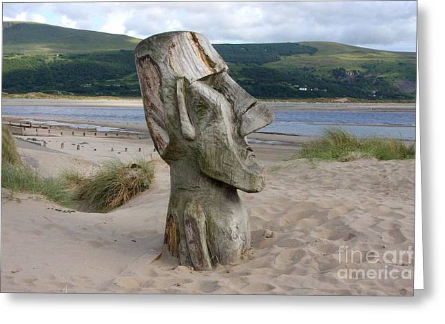 Wooden Sculpture Greeting Cards - Watching the sea Greeting Card by Ed Lukas