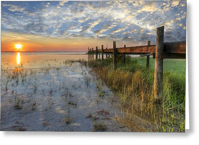 Placid Blue Greeting Cards - Watching the Sun Rise Greeting Card by Debra and Dave Vanderlaan