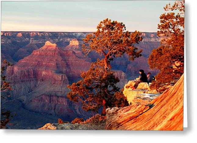 Gnarly Greeting Cards - Watching the Sun Set on the Grand Canyon Greeting Card by Cindy Wright