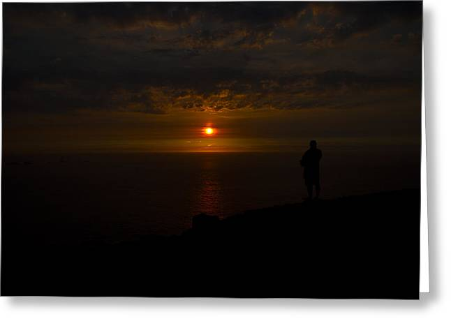 Best Sellers -  - Cliffs Over Ocean Greeting Cards - Watching the Sunset Greeting Card by Paul Howarth