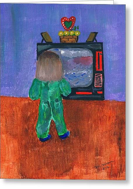 Pajamas Greeting Cards - Watching TV Greeting Card by Melvin Moon