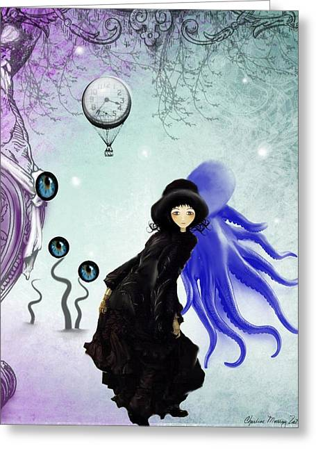 Goth Girl Greeting Cards - Watching You Greeting Card by Charlene Zatloukal