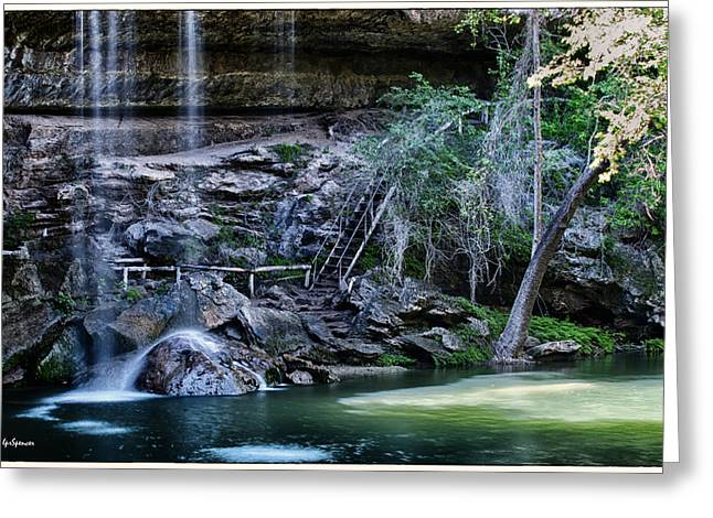 Water In Cave Greeting Cards - Water and Lights at Hamilton Pool Greeting Card by Lisa  Spencer
