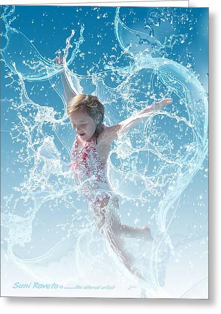 Suni Roveto Greeting Cards - Water Baby Greeting Card by Suni Roveto