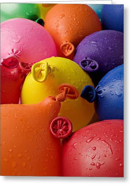 Red Balloons Greeting Cards - Water balloons Greeting Card by Garry Gay