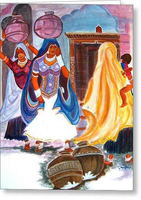 Empower Paintings Greeting Cards - Water Belles Greeting Card by Manjiri Kanvinde