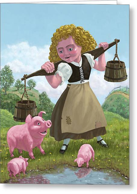 Piglets Greeting Cards - Water Bucket Maid Greeting Card by Martin Davey