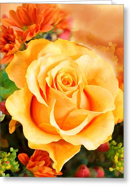 Botanical Greeting Cards - Water Color Yellow Rose with Orange Flower Accents Greeting Card by Elaine Plesser
