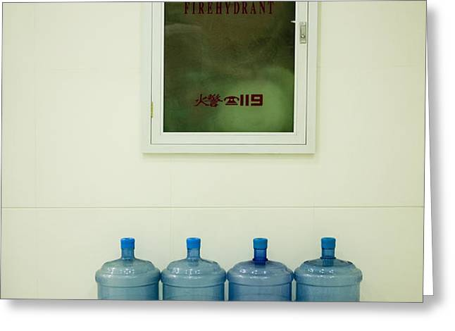 Water Cooler Bottles and Fire Hydrant Cabinet Greeting Card by Andersen Ross