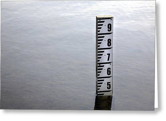 River Flooding Greeting Cards - Water Depth Marker Greeting Card by Victor De Schwanberg