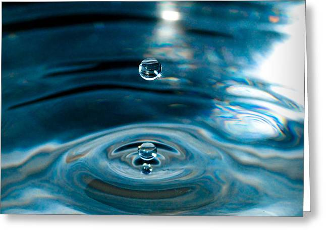 Nikon D80 Greeting Cards - Water Drop in Time Greeting Card by Sonja Quintero