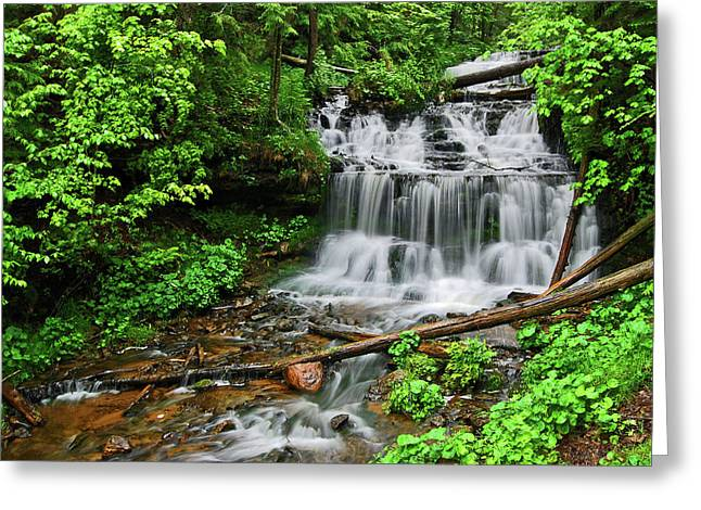 Copper Colored Greeting Cards - Water Falling III Greeting Card by Sean Holmquist