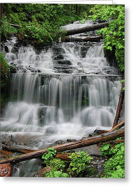 Copper Colored Greeting Cards - Water Falling IIIa Greeting Card by Sean Holmquist