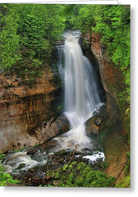Copper Colored Greeting Cards - Water Falling IV Greeting Card by Sean Holmquist