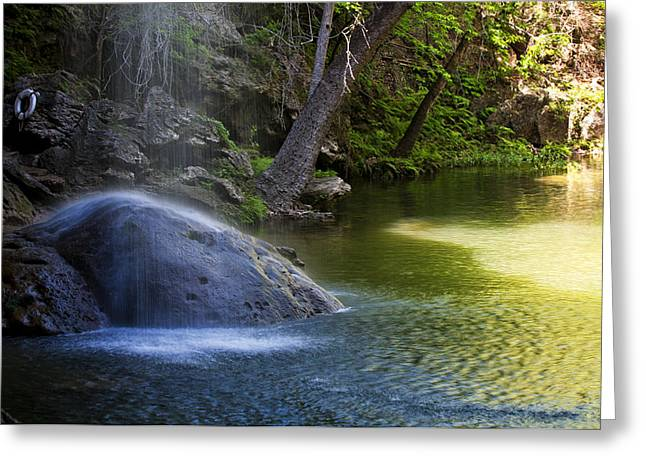 Hamilton Pool Greeting Cards - Water Falling on Rock Greeting Card by Lisa  Spencer