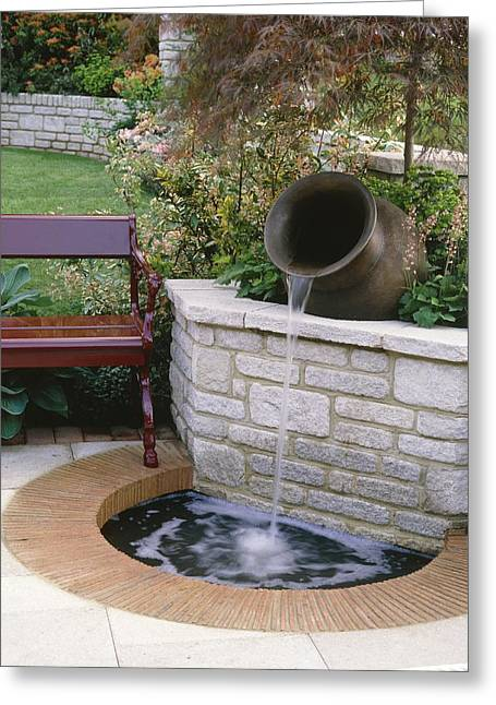 Chelsea Greeting Cards - Water Feature Greeting Card by Vaughan Fleming