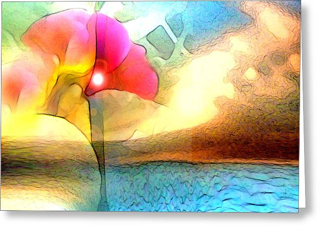 Visionary Artist Digital Art Greeting Cards - Water Floral Greeting Card by George  Page
