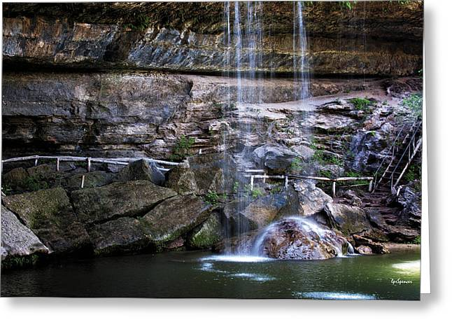Water In Cave Greeting Cards - Water Flow Over A Rock at Hamilton Pool Greeting Card by Lisa  Spencer