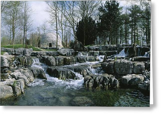 Garden Statuary Greeting Cards - Water Flowing In A Garden, St. Fiachras Greeting Card by The Irish Image Collection