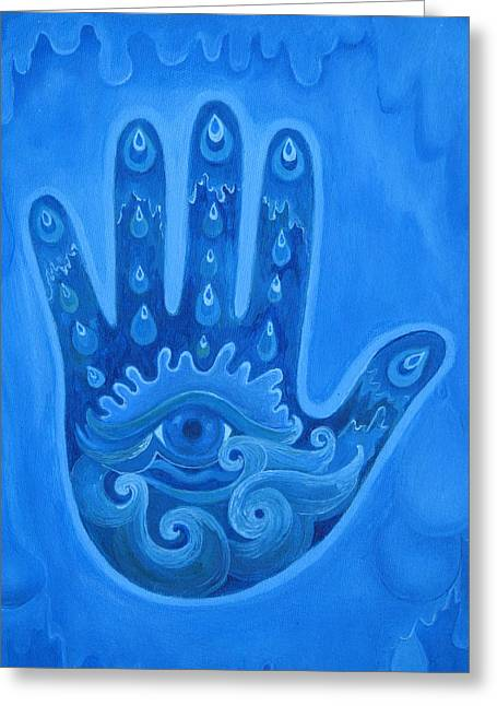 Element Pastels Greeting Cards - Water Hand Greeting Card by Tara Rieke