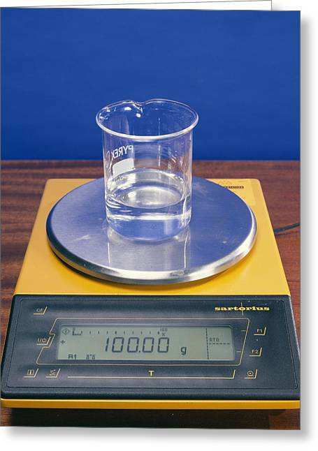 Mass Effect Greeting Cards - Water In Beaker On Scales Greeting Card by Andrew Lambert Photography