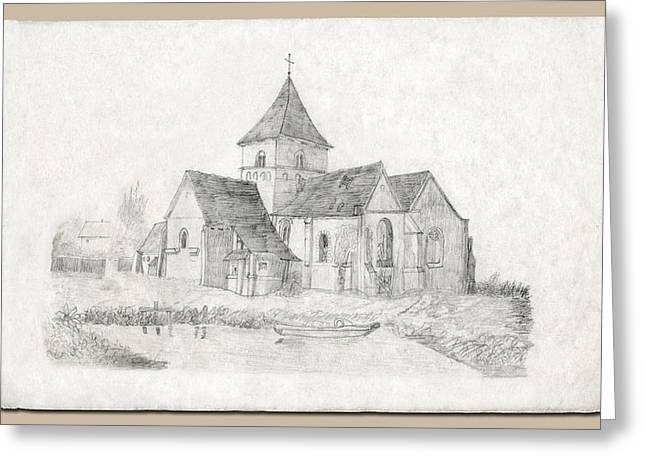 First-family Drawings Greeting Cards - Water Inlet at Church Greeting Card by Donna Munro