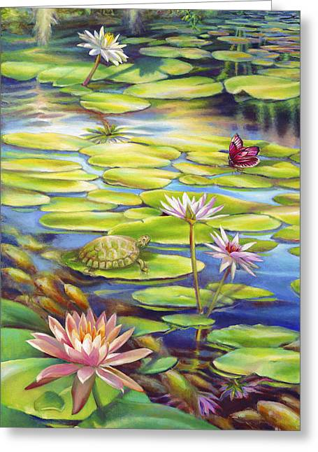 Gallery Wrap Paintings Greeting Cards - Water Lilies at McKee Gardens I - Turtle Butterfly and Koi Fish Greeting Card by Nancy Tilles