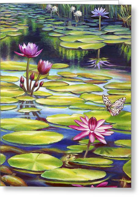 Gallery Wrap Paintings Greeting Cards - Water Lilies at McKee Gardens II - Butterfly and Frog Greeting Card by Nancy Tilles