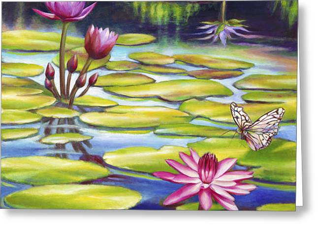Water Lilies at McKee Gardens II - Butterfly and Frog Greeting Card by Nancy Tilles