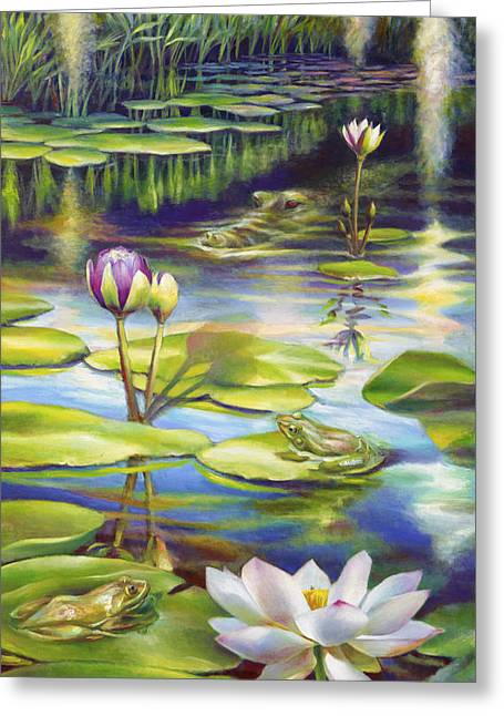 Gallery Wrap Paintings Greeting Cards - Water Lilies at McKee Gardens III - Alligator and Frogs Greeting Card by Nancy Tilles