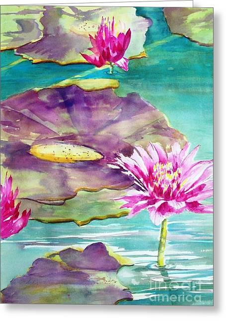 Maryann Greeting Cards - Water  Lilies II Greeting Card by Maryann Schigur