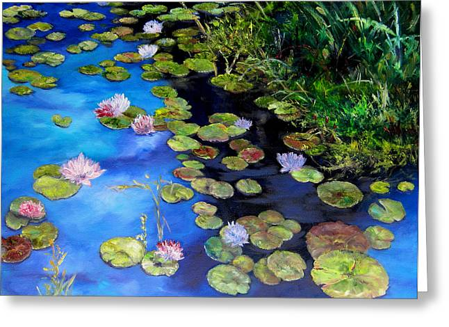 Diane Kraudelt Greeting Cards - Water Lilies On Blue Greeting Card by Diane Kraudelt