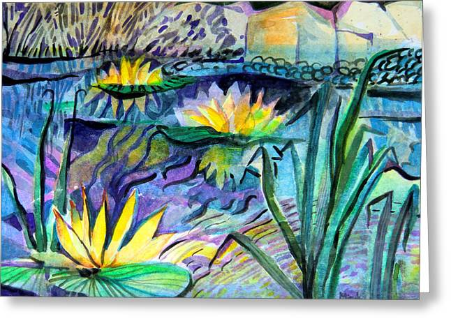 Brook Mixed Media Greeting Cards - Water Lily Blues Greeting Card by Mindy Newman
