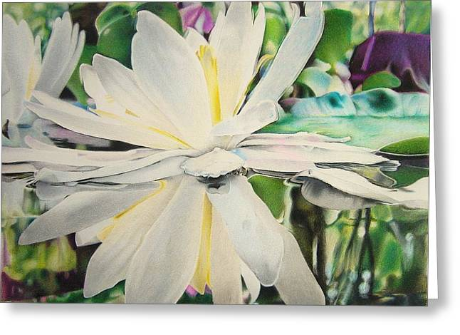 Blur Drawings Greeting Cards - Water lily Greeting Card by Eric Pouillet