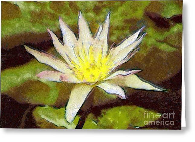 Sweating Greeting Cards - Water lily Greeting Card by Odon Czintos