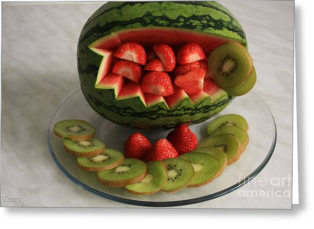 Watermelon Greeting Cards - Water Melon Fruit Basket Greeting Card by Tracy  Hall