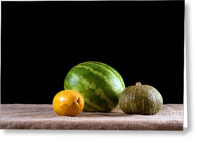 Melon Greeting Cards - Water Melon Squash Papaya Greeting Card by Catherine Lau