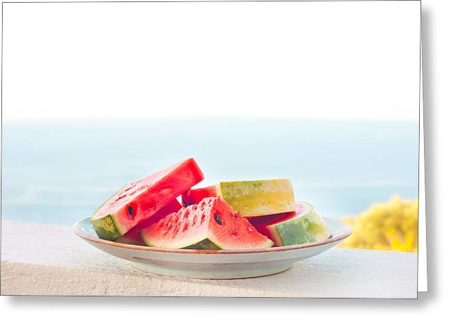 Moist Greeting Cards - Water melon Greeting Card by Tom Gowanlock