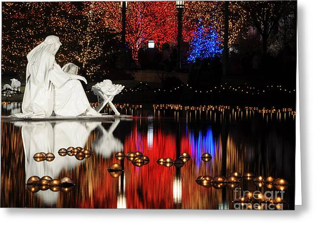 Candle Lit Greeting Cards - Water Christmas Nativity Scene at Night Greeting Card by Gary Whitton