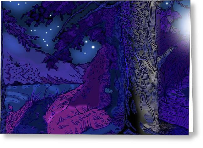 Moonlit Night Drawings Greeting Cards - Water of Leith Edinburgh Greeting Card by Grant  Wilson