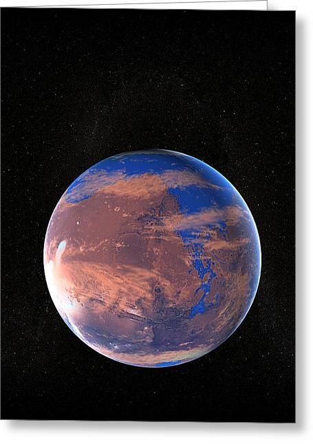 Planet Mars Greeting Cards - Water On A Prehistoric Mars Greeting Card by Christian Darkin