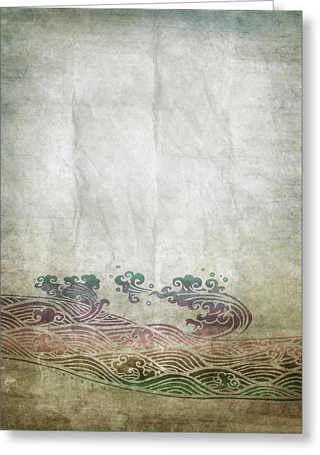 Border Photographs Greeting Cards - Water Pattern On Old Paper Greeting Card by Setsiri Silapasuwanchai
