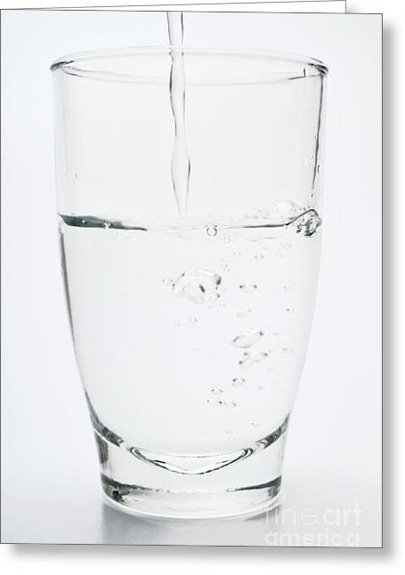 Pouring Greeting Cards - Water pouring into glass Greeting Card by Sami Sarkis